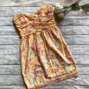 Shoshanna Watercolor Sweetheart Strapless Dress